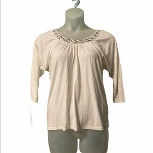 WHBM White Blouse Half Sleeve Business Casual Top